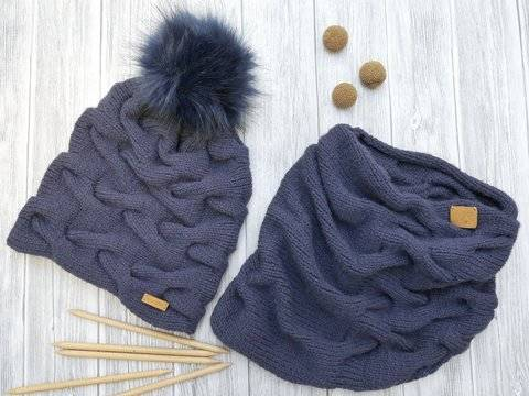 Knitting Pattern – Cable Set –Beanie & Loop– No.109S/E at Makerist