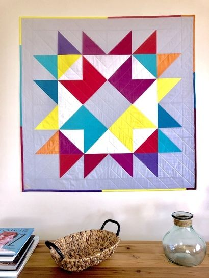 "Quilt Pattern ""Happy Ribbon Star"" Throw-baby-Pillow Size at Makerist - Image 1"