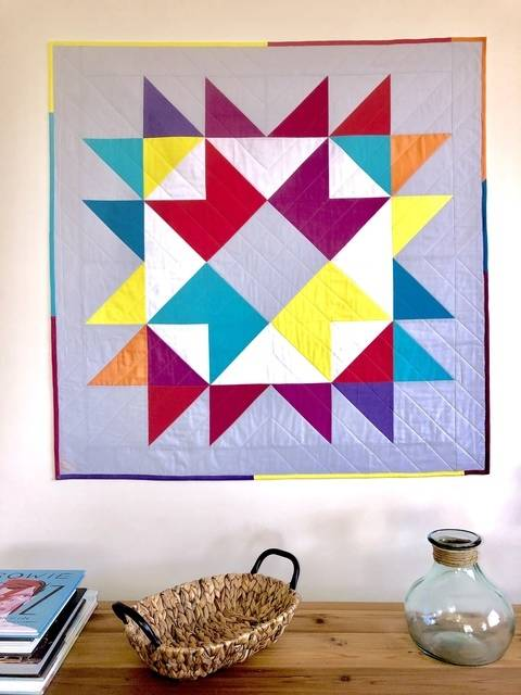 "Quilt Pattern ""Happy Ribbon Star"" Throw-baby-Pillow Size"