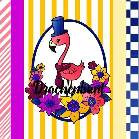 Digistamp Set Digi Papier Flamingo mit Blumen Sommer JPG PNG bei Makerist