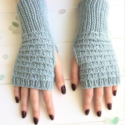 Sea Waves Fingerless Mitts - 2yrs to adult