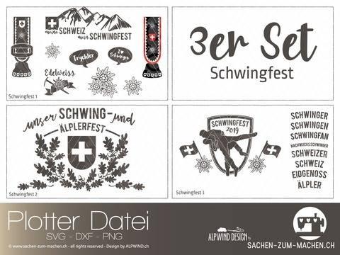 """Plotter-Datei """"Schwingfest"""" 3er-Set"""