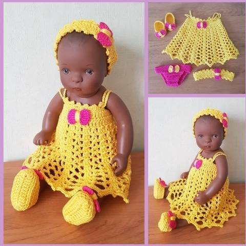 """Xéline"" crochet pattern for Bibichou Baby doll at Makerist"
