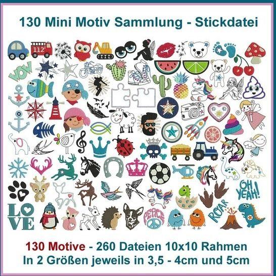 Stickdateien Mini Motiv Sammlung 130 Minimotive, 260 Dateien bei Makerist - Bild 1