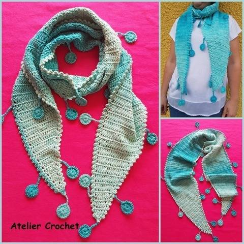 """Dangling disks""  crochet scarf at Makerist"
