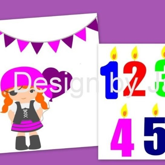 Plotterdatei  Pirat Set 2,  Geburtstag Zahl 1-5 SVG bei Makerist - Bild 1