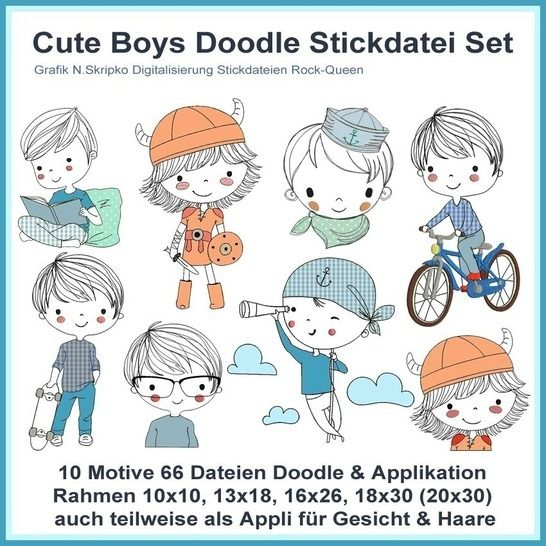 Stickdateien Cute Boys Doodle Applis 66Dateien bei Makerist - Bild 1