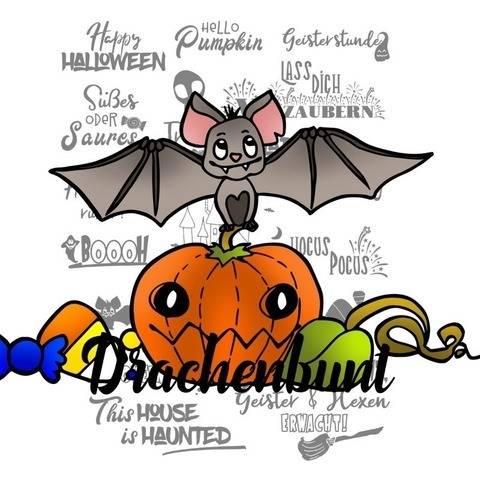Plotterdatei Plott Halloween Fledermaus Kürbis SVG DXF bei Makerist