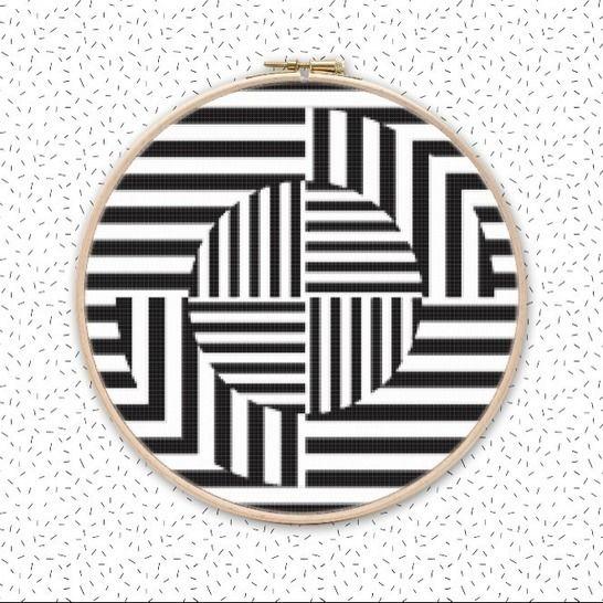 OP ART QUZZ Kreuzstich Muster Stickvorlage bei Makerist - Bild 1