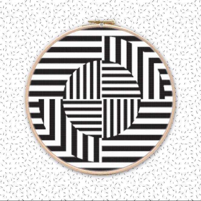 OP ART QUZZ Kreuzstich Muster Stickvorlage