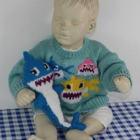 Baby & Toddler Shark Family Sweater & Toy at Makerist