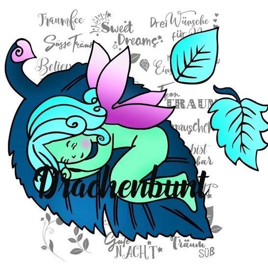 Plotterdatei Plott Fee auf Blatt Märchen Mädchen SVG DXF bei Makerist - Bild 1