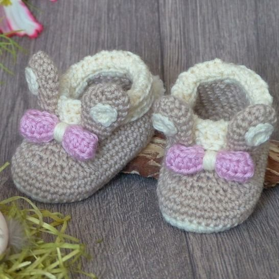 "Baby Booties ""Bunny"", 0-6 months – Crochet Pattern at Makerist - Image 1"