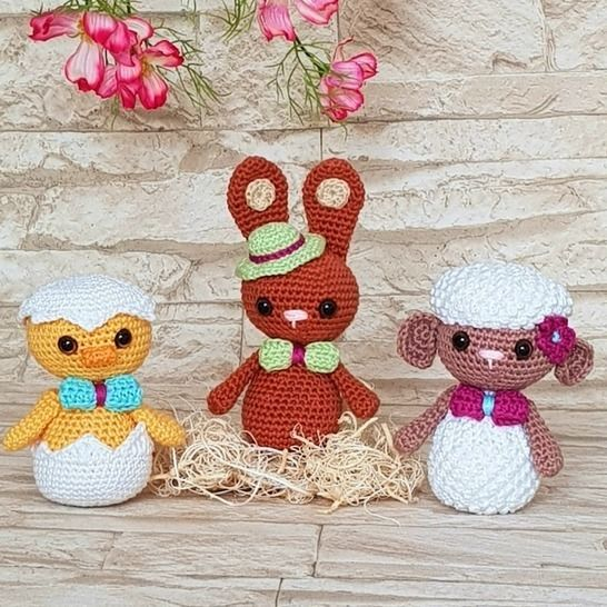 Easter-Trio: Chicklet, Bunny & Lamb – Crochet Pattern at Makerist - Image 1
