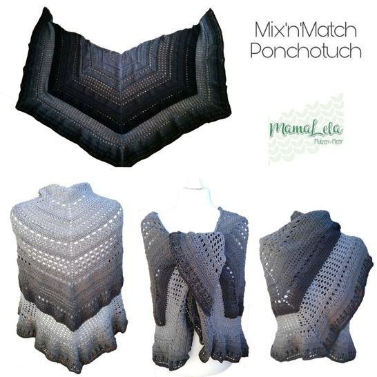 """Ponchotuch """"Mix'n'Match"""" von MamaLela - Häkelanleitung bei Makerist - Bild 1"""