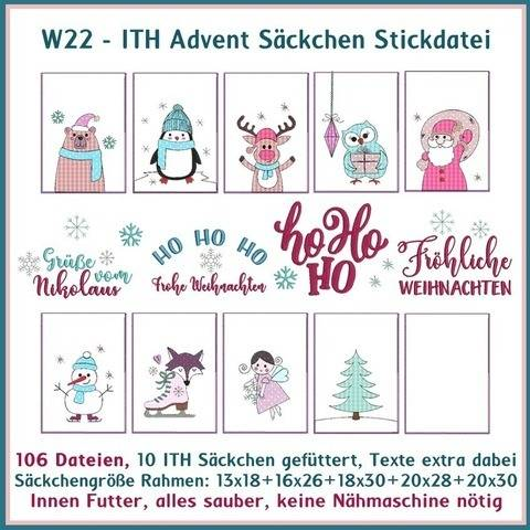 Stickdatei W22 ITH Advent Saeckchen ITH 106 Dat. Nikolaus bei Makerist