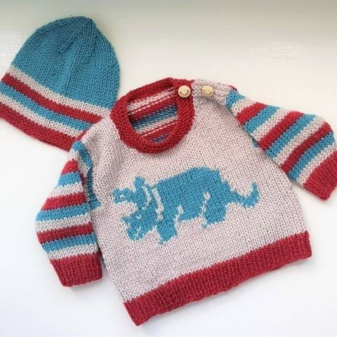 Dinosaur Baby Sweater and Hat - Triceratops