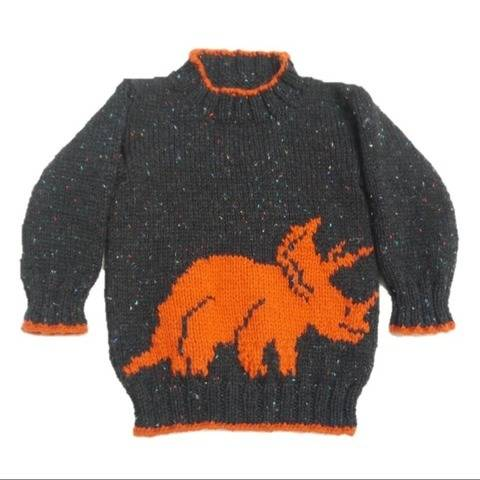 Dinosaur Child's Sweater and Hat - Triceratops