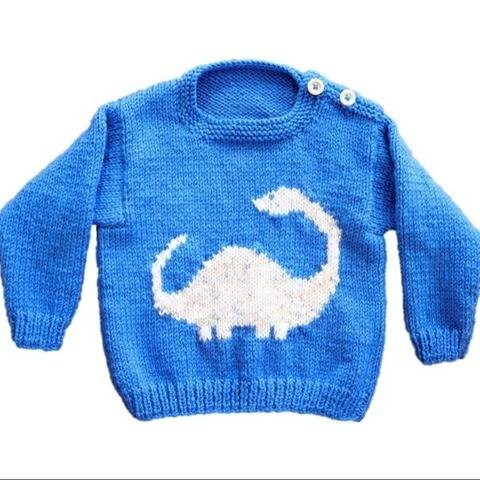 Dinosaur Baby Sweater and Hat - Diplodocus