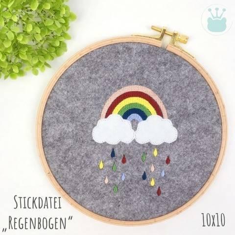 """Stickdatei """"Regenbogen"""", 10x10 cm, Wolken, Regen"""