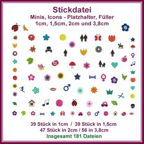 Stickdateien Minis Icons Giga Set 181 Dateien Mini