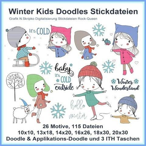 Stickdatei Winter Kids Kinder Doodle Schlitten 115 Dateien