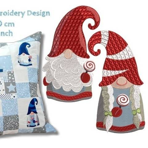 Christmas Gnomes 4x4 inch Machine Embroidery Design at Makerist