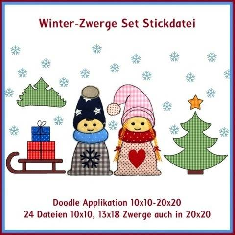 Stickdatei Winter Zwerge Doodle Applikation Set 24 Dateien