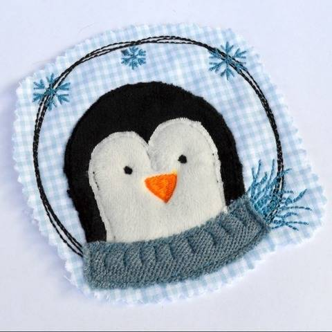 Stickdatei Pinguin doodle Button 10x10cm 2er SET bei Makerist