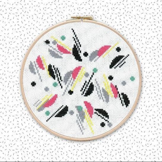Kreuzstich Stickvorlage . ART DÉCO . abstraktes Stickmuster bei Makerist - Bild 1