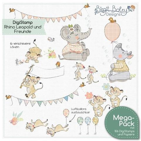Birgit Boley Designs • DigiStamp RhinoLeopold und Freunde