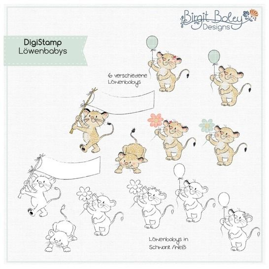 Birgit Boley Designs • DigiStamp Löwen babys bei Makerist - Bild 1