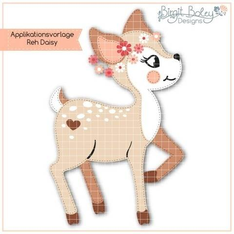 Birgit Boley Designs • Applikationsvorlage Reh Daisy