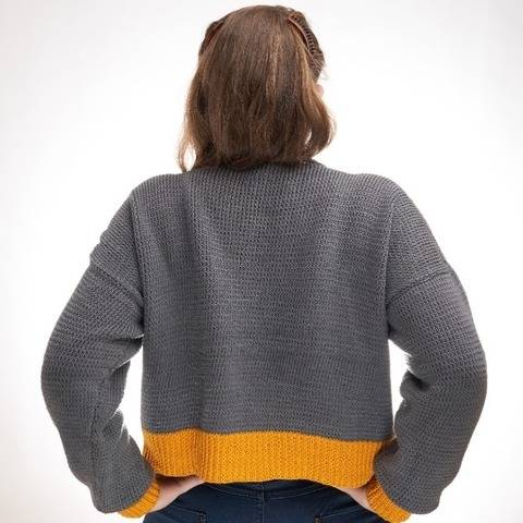Oversize sweater knitting pattern PDF- Sunshine Crop Sweater at Makerist