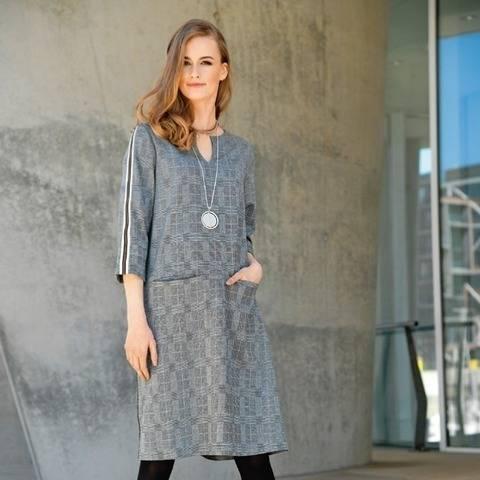 Kariertes Jersey-Kleid mit Zier-Reißverschluss