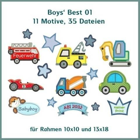 Stickdateien Boys Best 1 Applis 35 Dat. Autos Sterne ab10x10