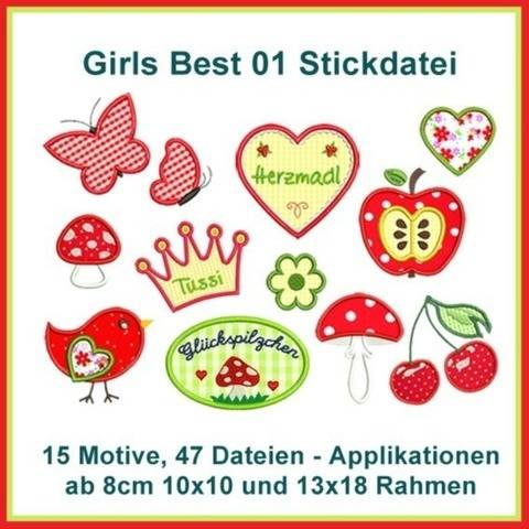 Stickdatei Girls Best 1 Applikationen 47x ab 10cm Herz Pilz