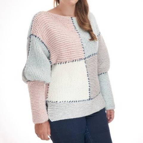 Cozy knit sweater pattern - Bloc Sweater knitting pattern at Makerist