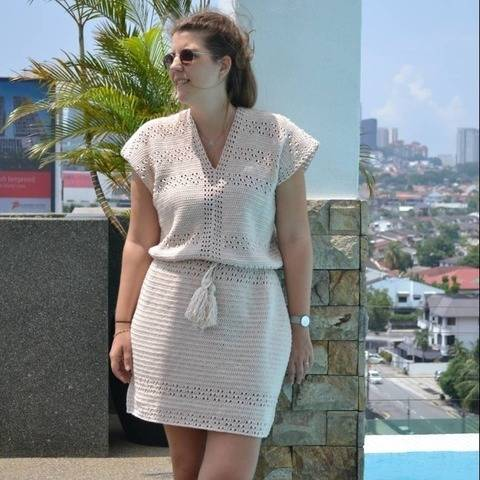 Lace dress boho crochet pattern, Easy crochet dress pattern