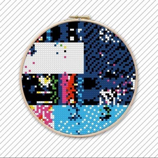 Abstrakte Kreuzstich Stickvorlage . #007 bei Makerist - Bild 1