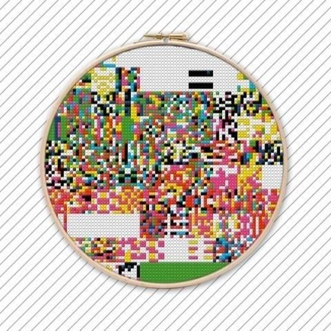Abstrakte Kunst Kreuzstich Vorlage . #014