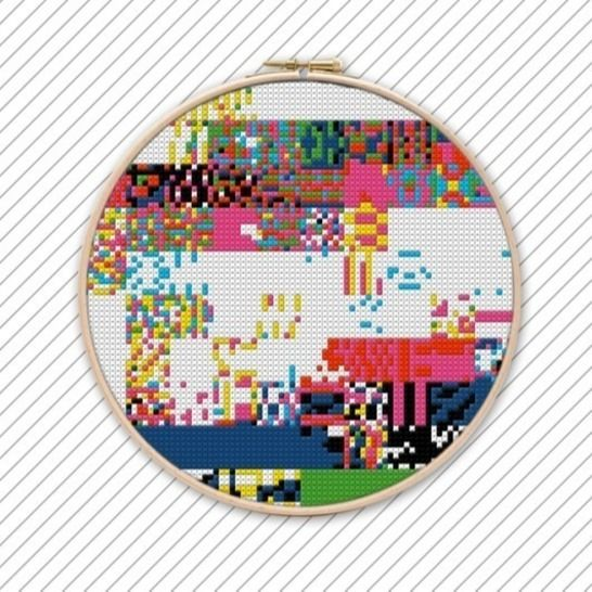 Kreuzstich Vorlage Abstrakte Kunst . POLYCHROME #015 .  bei Makerist - Bild 1