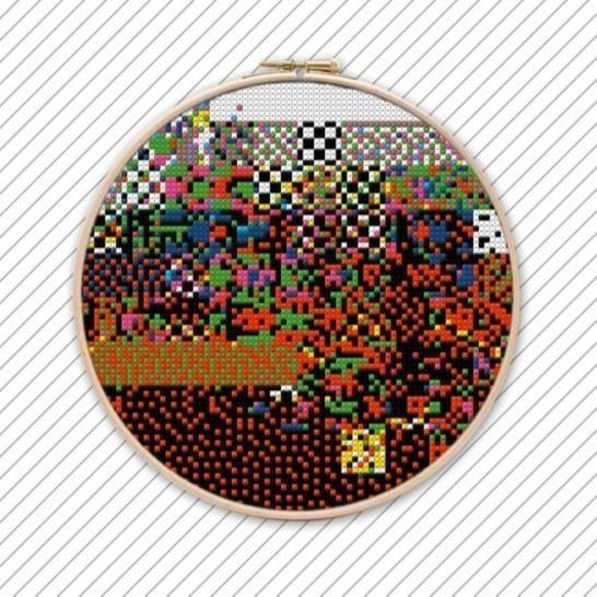 Abstrakte Kunst Kreuzstich Vorlage . POLYCHROME #016  bei Makerist - Bild 1