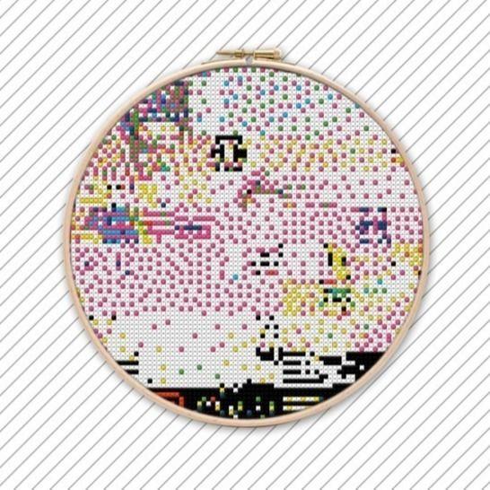 Modernes Kreuzstichvorlage. POLYCHROME #023 . bei Makerist - Bild 1