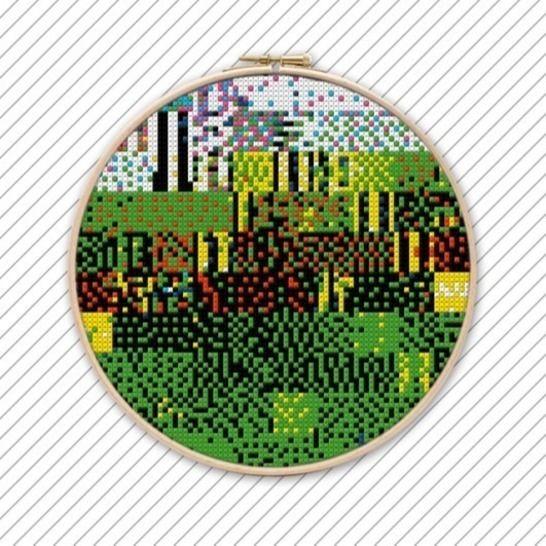 Kreuzstich Sticken Vorlage . POLYCHROME #028 bei Makerist - Bild 1