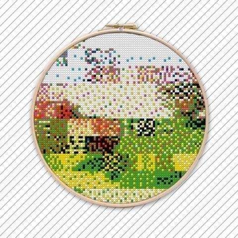 Geometrische Stickenvorlage . POLYCHROME #031  bei Makerist