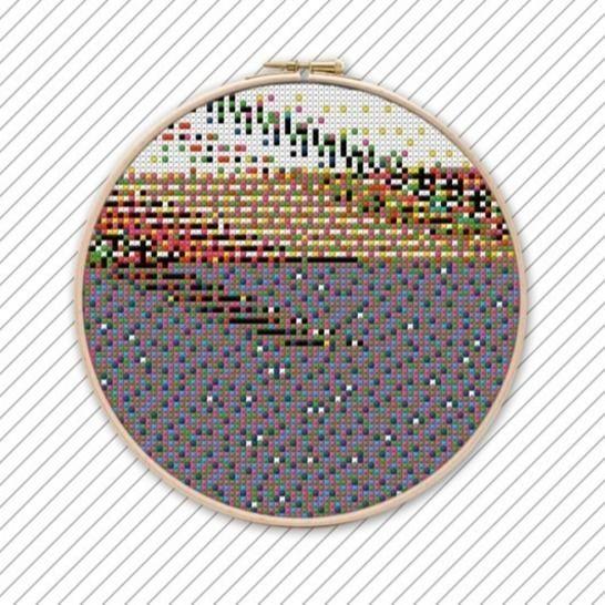 Geometrisches Kreuzstich Stickmuster . POLYCHROME #032 bei Makerist - Bild 1