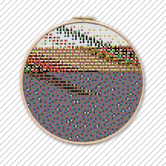 Geometrisches Kreuzstich Stickmuster . POLYCHROME #032