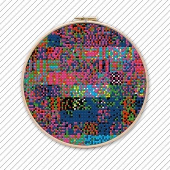 Geometrisches Kreuzstichmuster . POLYCHROME #033 . bei Makerist - Bild 1