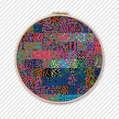 Geometrisches Kreuzstichmuster . POLYCHROME #033 .